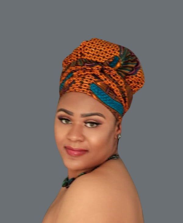 Satin Lined African Print Headwrap KERRY-accesories-NBLCouture