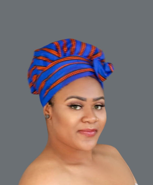 Satin Lined African Print Headwrap - Antonella-accesories-NBLCouture
