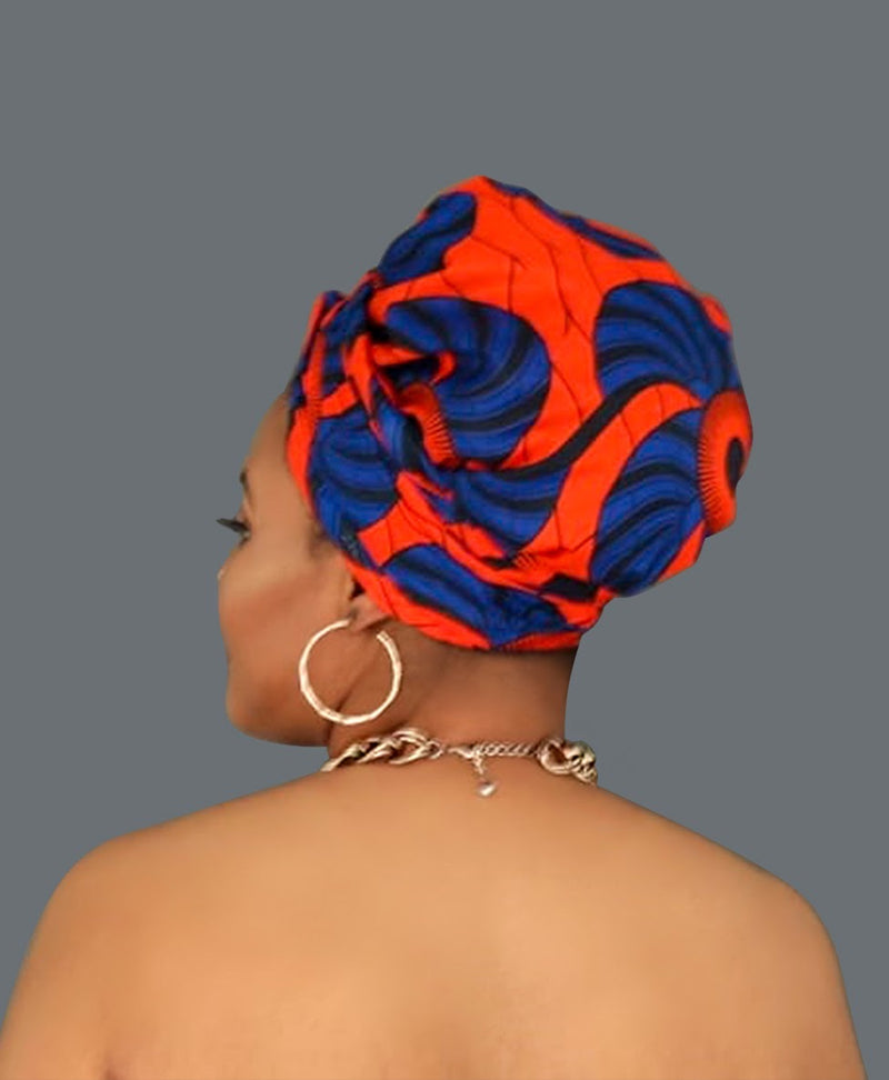 Satin-lined African Print Head wrap - Amanda-accessories-NBLCouture