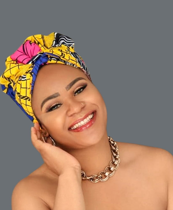 Satin Lined African Print Headwrap - Alina-accessories-NBLCouture
