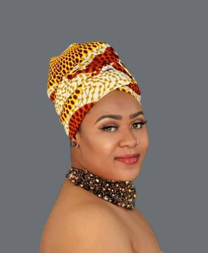 Satin Lined African Print Headwrap - Corinthia-accesories-NBLCouture