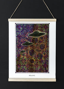 mystic psychedelic ufo art poster for home decor