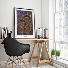 Load image into Gallery viewer, mystic psychedelic ufo art poster for home decor