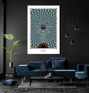 eclipse astronomy psychedelic geometry art poster for home decor - coloro mystic