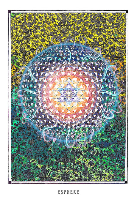 yantra psychedelic art poster for boho home decor - coloro mystic