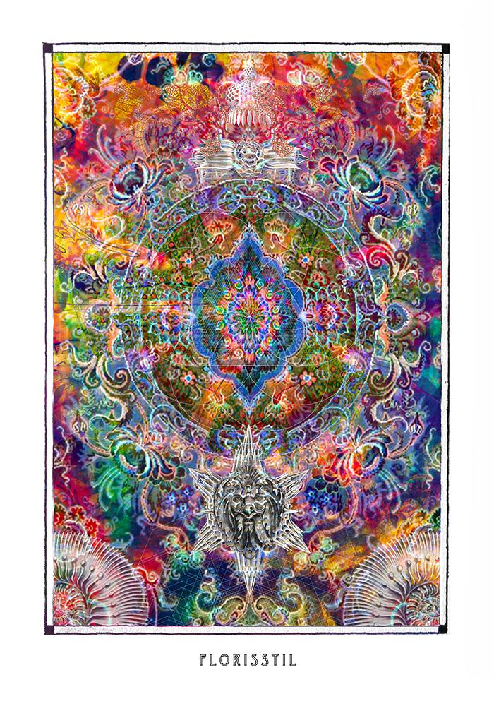 psychedelic mandala art poster for boho home decor - coloro mystic