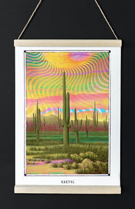 trippy psychedelic Cactus art poster boho home decor- coloro mystic