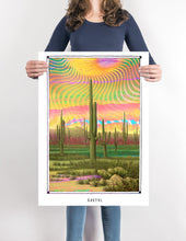 Load image into Gallery viewer, trippy psychedelic Cactus art poster boho home decor- coloro mystic