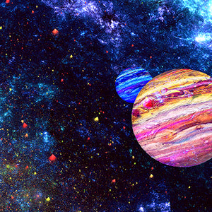 galaxy space planet ruby art poster for boho home decor - coloro mystic