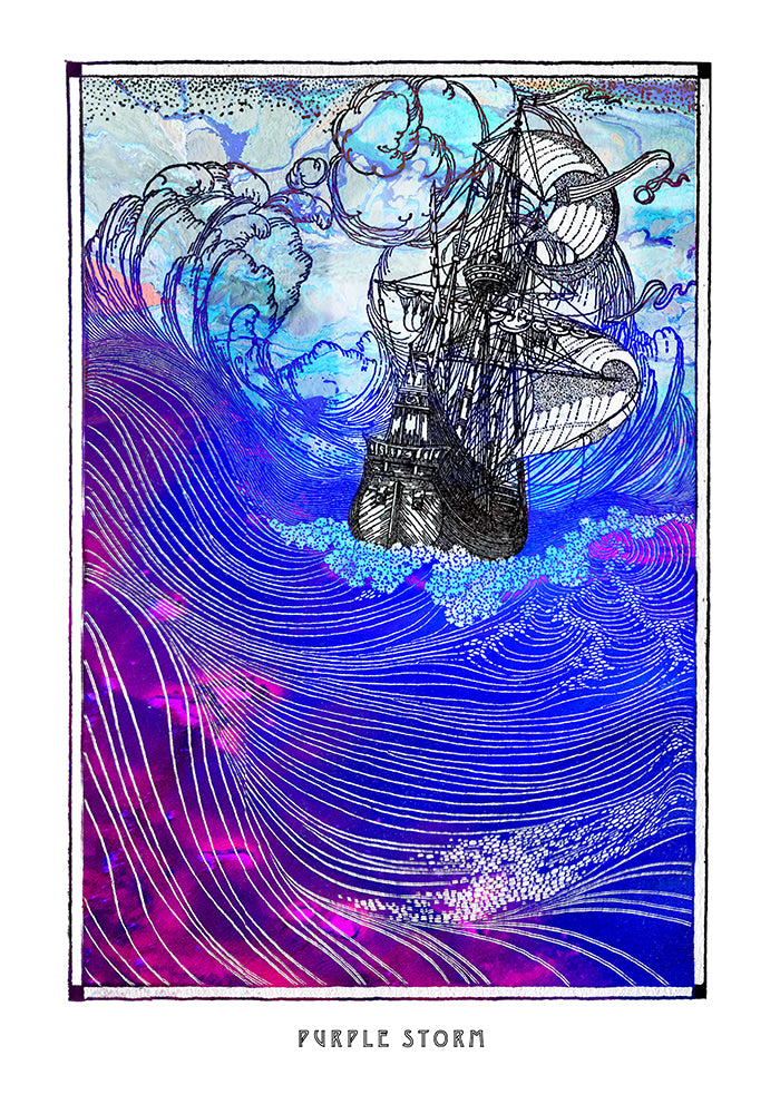 psychedelic sea ship art poster for boho home decor - coloro mystic