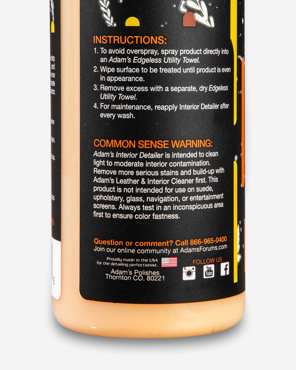 Adam's Pumpkin Spice Interior Detailer Gallon With Free 16oz