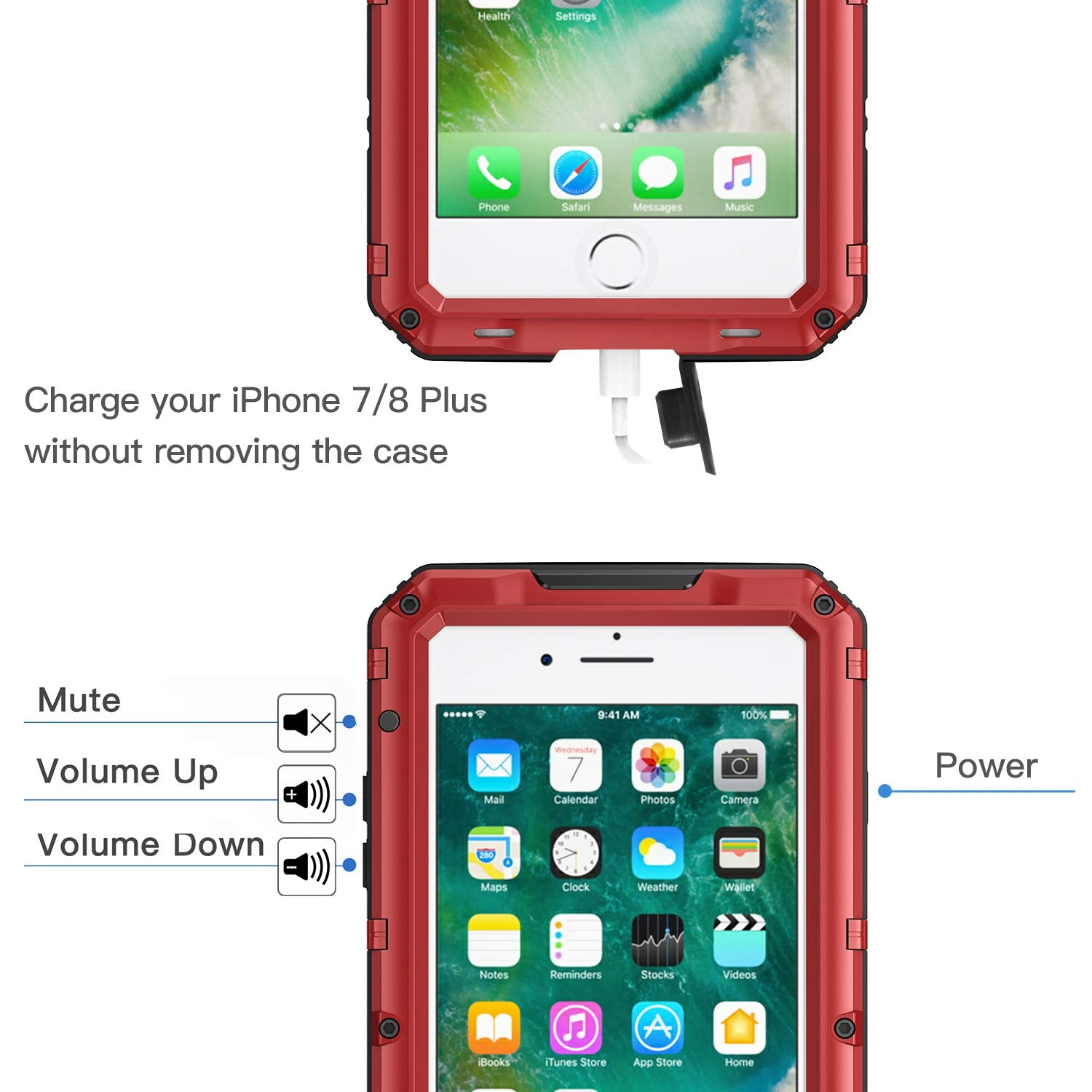iPhone 7 Plus iPhone 8 Plus Waterproof Case (Heavy Duty)