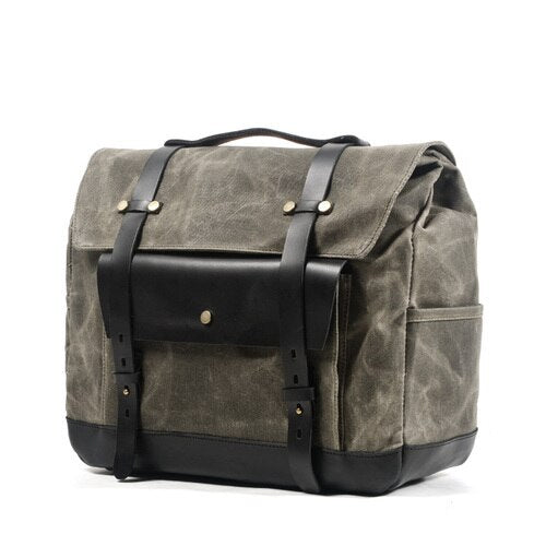 JAMES Motorcycle Bag-201336108-The Canvas Bag™-Army with black flap-The Canvas Bag™