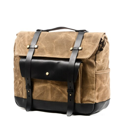 JAMES Motorcycle Bag-201336108-The Canvas Bag™-Khaki with black flapk-The Canvas Bag™