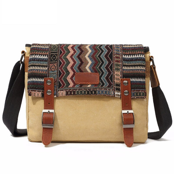 KINO Patchwork Bag-201340512-The Canvas Bag™-Khaki-The Canvas Bag™