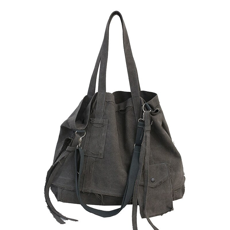 FETTY Vintage Multi-Purpose Tote Bag-100002856-The Canvas Bag™-Gray-(30cm<Max Length<50cm)-The Canvas Bag™