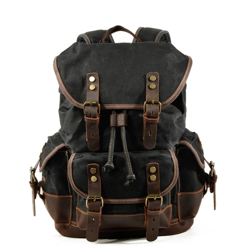 PATRICK Backpack | Vintage & Waterproof-152401-The Canvas Bag™-Black-The Canvas Bag™