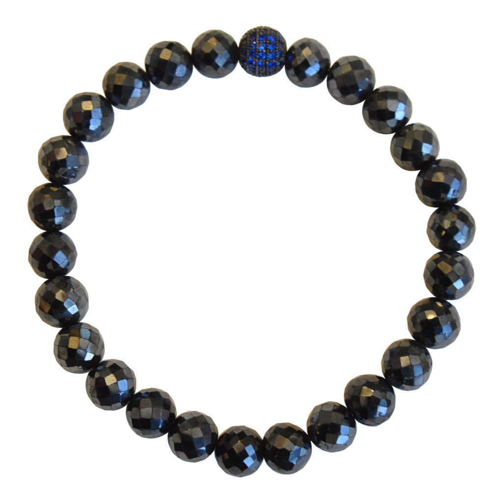 Mens Black Spinel with Sapphire Micropave