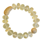 14mm Lemon Quarts Beaded Bracelet with Micropave Beads