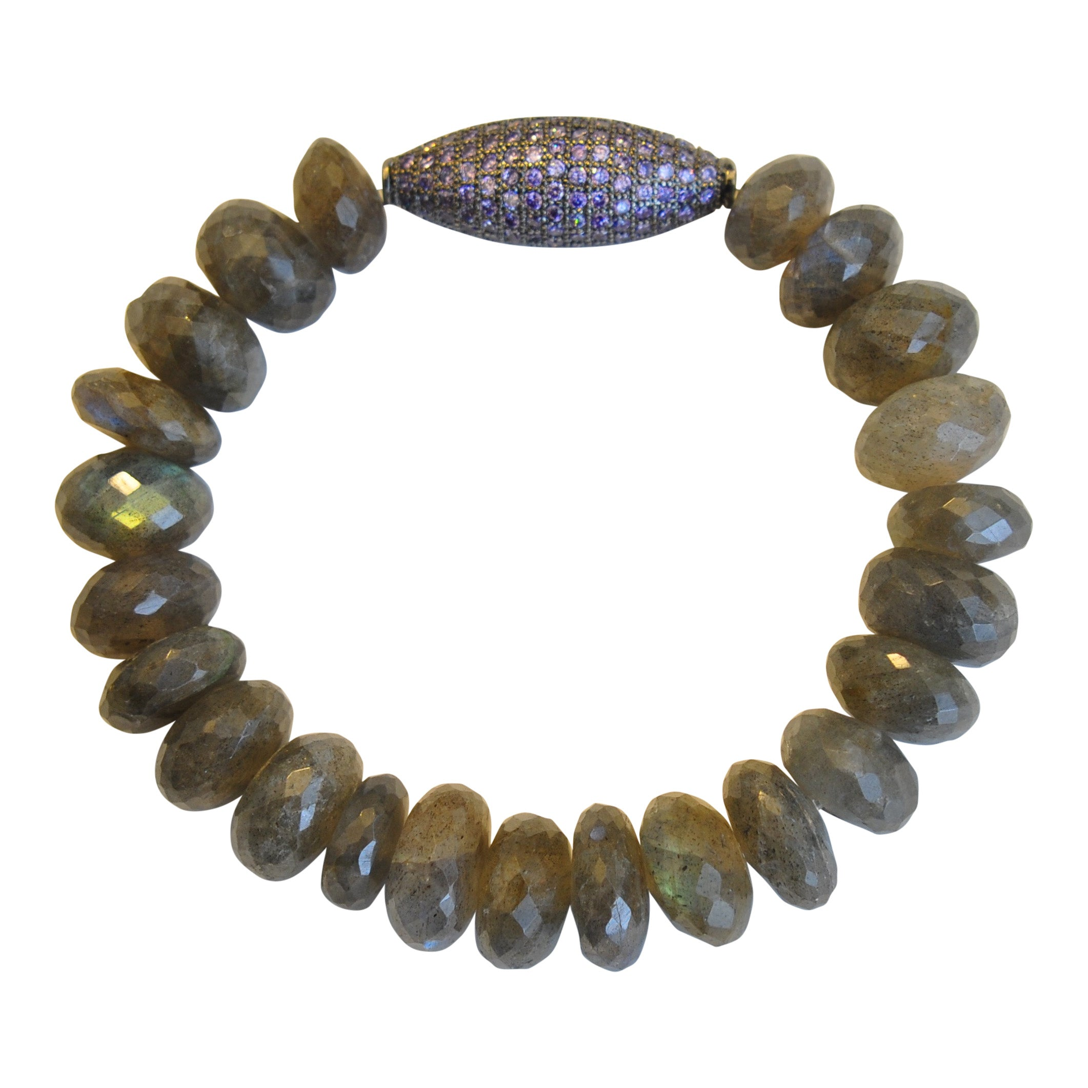 Labradorite with Amethyst Micropave