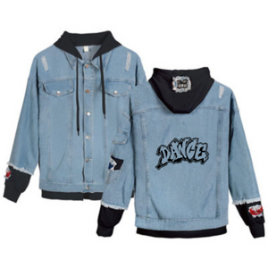 Designer Women's Graffiti Dance Distressed Hip Hop Style Denim Hooded Jean Jacket