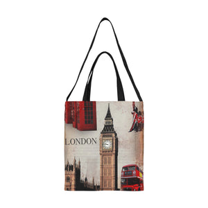 London Art Nouveau Large Capacity Canvas Shopping Tote Bag With Double Handles