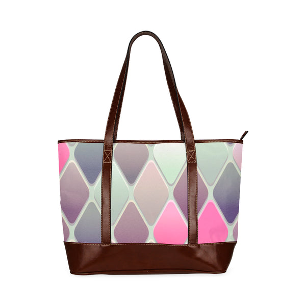 Argyle Pastel Tones Waterproof Shoulder Tote Bag - Shopping Handbag