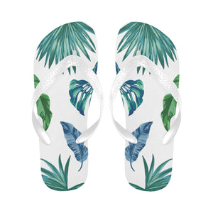Women's Designer Tropical Palm Leaves On White Flip Flops