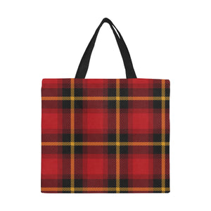 Gingham Red Plaid Designer Large Capacity Canvas Tote Bag - Shopping Tote