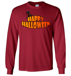 Plus Size Happy Halloween Unisex Long Sleeve Tee - Gildan