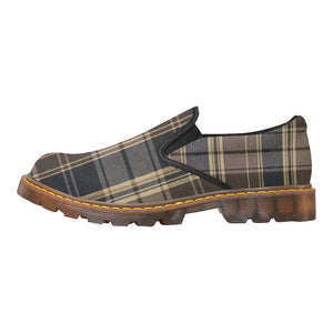 Women's Brown & Navy Plaid High Grade Oxford Loafer Slip-On Shoes