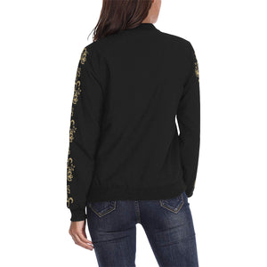 Plus Size Designer Steampunk Gold Floral Women's Classic Bomber Jacket