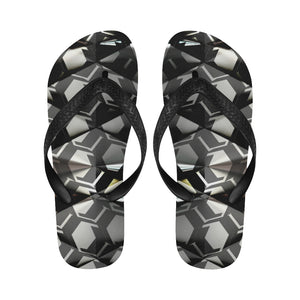 Black Geometric Diamond Designer Women's Flip Flops