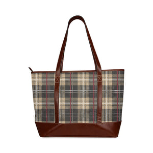 Plaid Brown Vintage Waterproof Tote Bag With PU Leather Details
