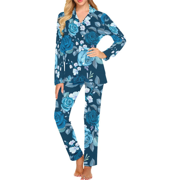 Designer Blue Roses Floral Pajama Set Top and Bottoms - Women's Long Pajama Set