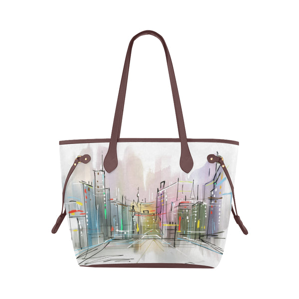 Antique Watercolor City Tote Bag Classic Shoulder Bag In Variety Of Accent Colors