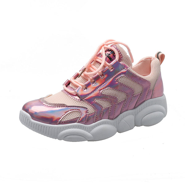 Chunky Shiny Jelly Sole Breathable Women's Sneakers