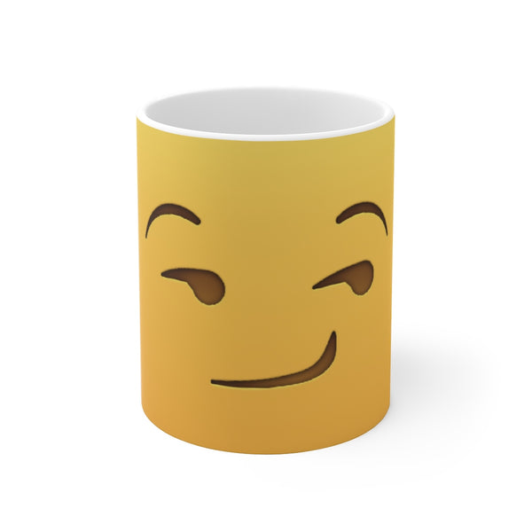 Smirking Emoji On Sunset Yellow Ceramic Mug 11oz and 15oz