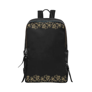 Steampunk Gold Floral Backpack Schoolbag 15in Laptop Large Capacity School Bag
