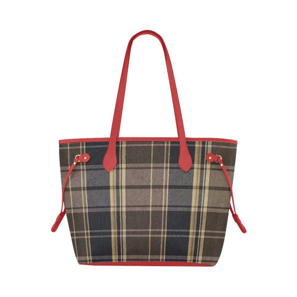 Designer Navy & Brown Plaid Waterproof Large Capacity Tote Bag Red Handles Classic Tote Bag (Model1661)