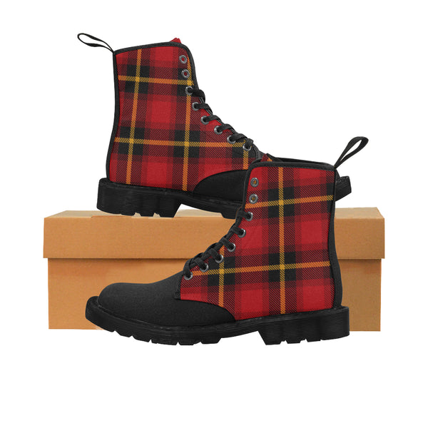 Women's Gingham Red Plaid Combat Boots, Lace Up Canvas Boots, Hiking Boots