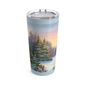 Thermos Tumbler With Transparent Lid - Winter Wonderland Scene In Ice Blue - 20oz