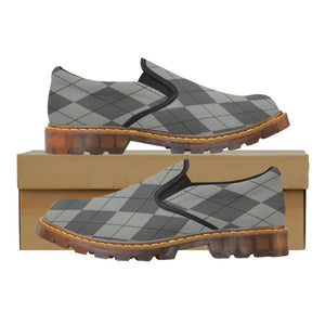 Designer Women's Gray And Black Argyle Quality High Grade Oxford Loafer Slip-On Shoes
