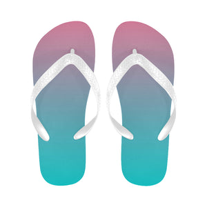 Designer Women's Purple To Aqua Ombre Flip Flops