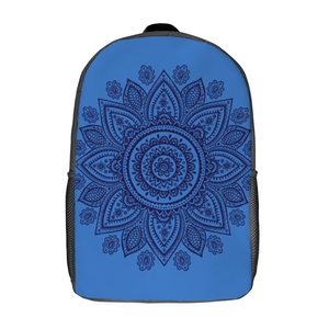 Designer Mandala On Blue - 17inch Travel Laptop Backpack