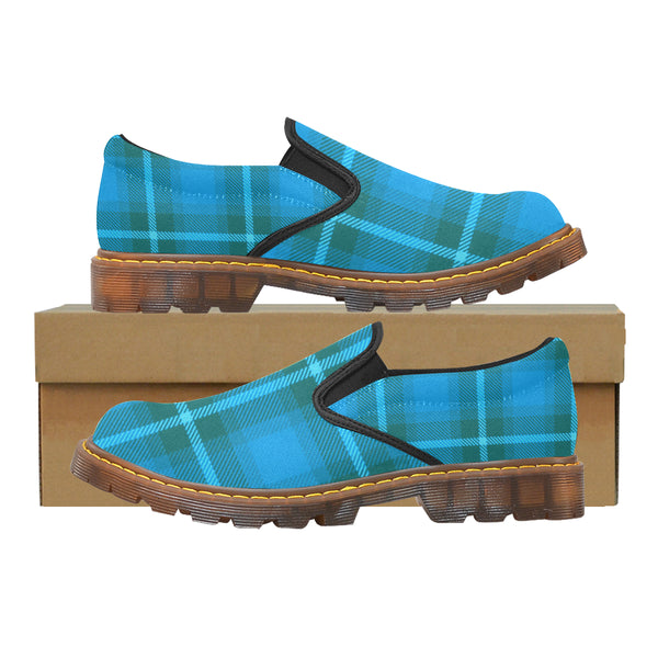 Women's Turquoise Aqua Plaid Oxford Loafers Slip-On Shoes