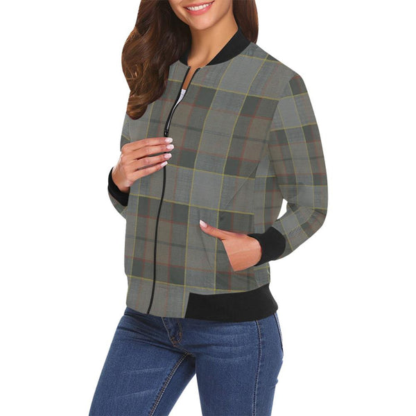 Plus Size Designer Women's Bomber Jacket - Outlander Clan Fraser Tartan Plaid Colors