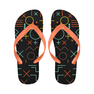 Women's Designer Geometry Orange Shapes Flip Flops