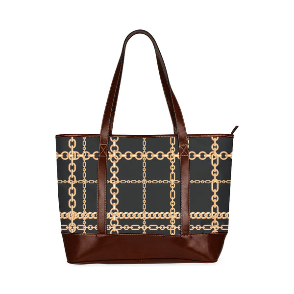 Chain Plaid Pattern Waterproof PU Leather Tote Bag Handbag