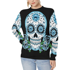 Plus Size Sweatshirt Goth Blue Skull & Roses With Rib Cuff